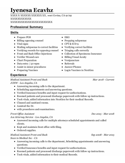 Front Office Assistant resume template California