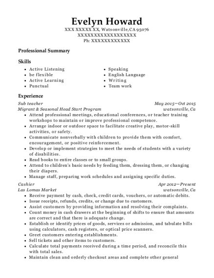 Sub teacher resume format California