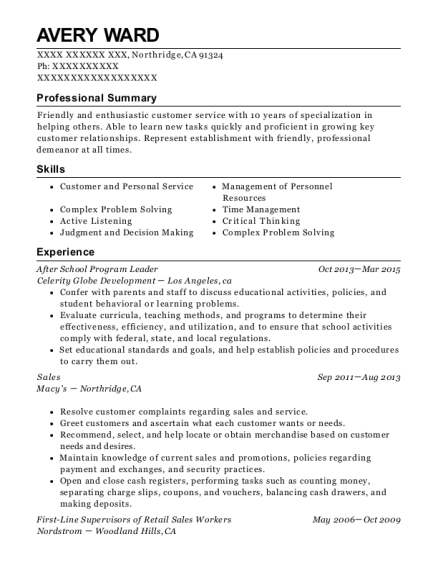 After School Program Leader resume example California