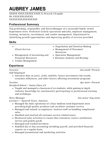 Investor resume example California