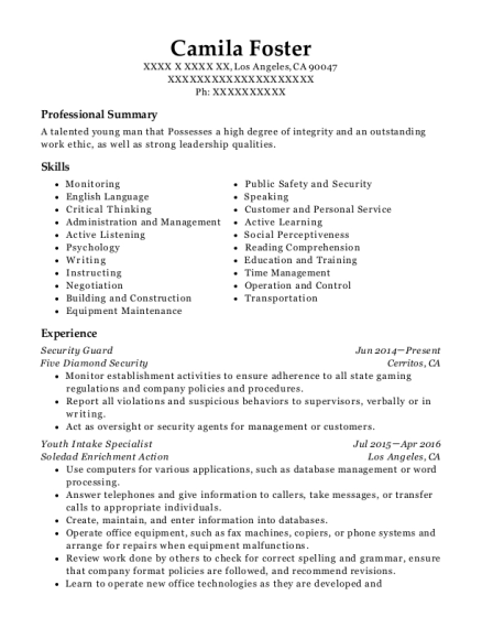 Security Guard resume template California