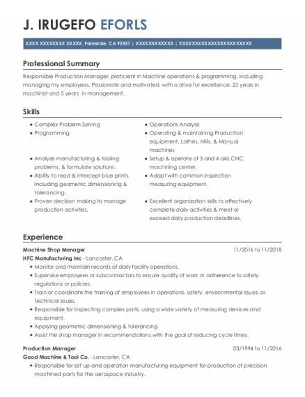 Production Manager resume example California