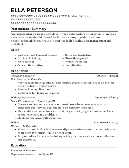 Personal Banker II resume sample California