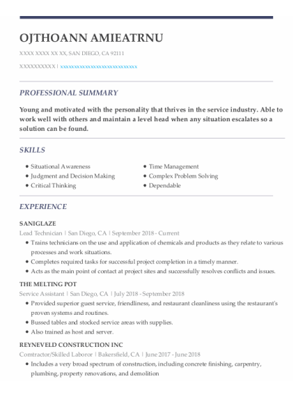 Lead Technician resume sample California