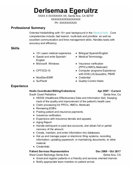 Patient Services Representative resume format California