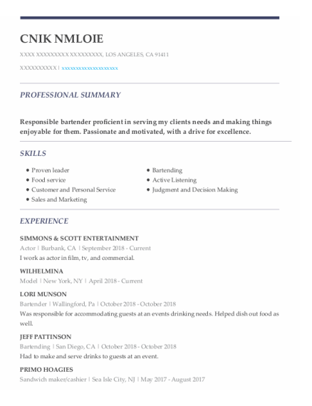 Actor resume sample California