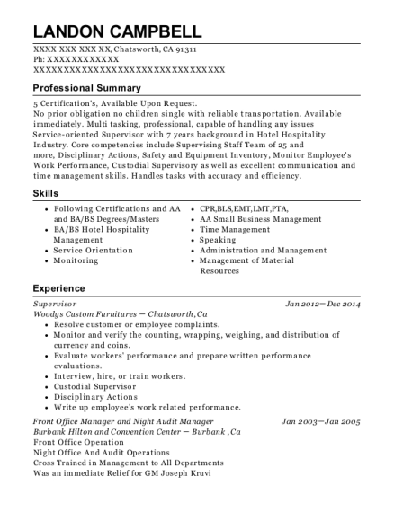 Supervisor resume example California