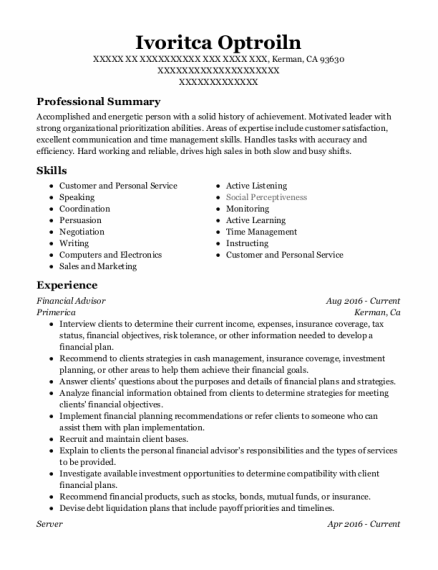 Server resume example California