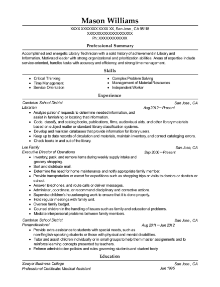 Librarian resume format California