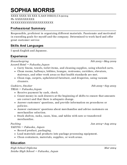 Housekeeping resume sample California
