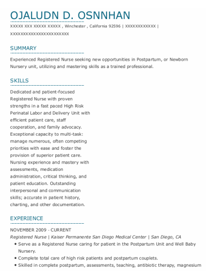 Registered Nurse resume sample CALIFORNIA