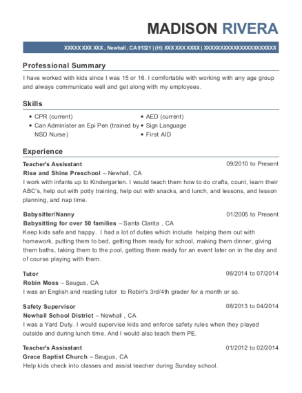 Teachers Assisstant resume sample California
