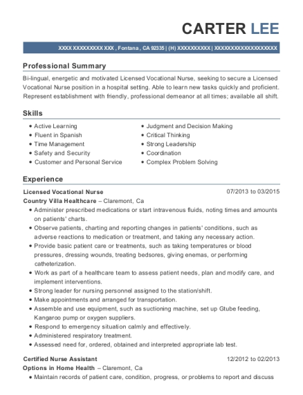 Licensed Vocational Nurse resume sample California