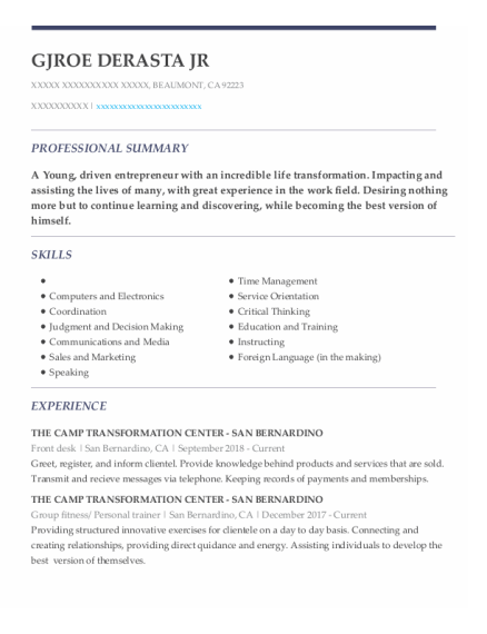 Front Desk resume format California