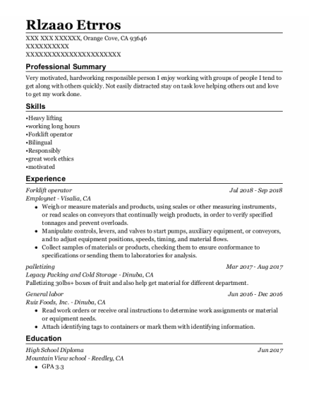 Forklift Operator resume sample California