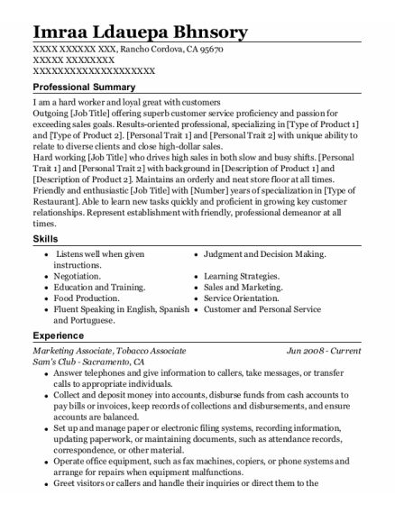 Marketing Associate resume sample California