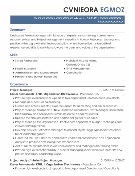 Project Analyst resume template California