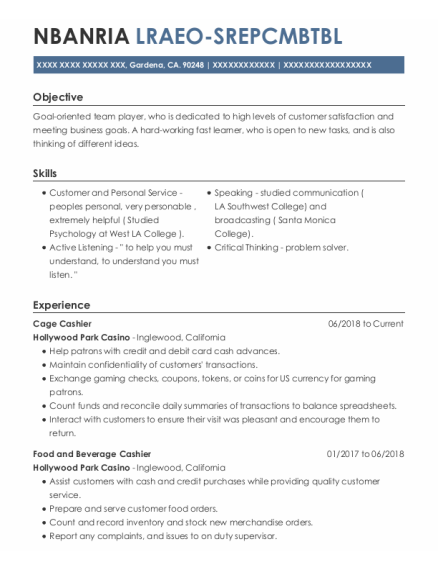 Cage Cashier resume format California