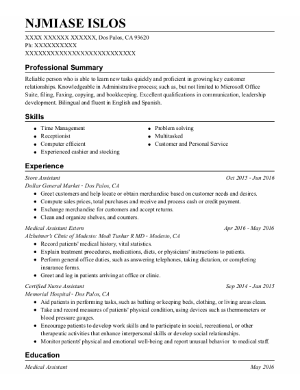 Store Assistant resume sample California
