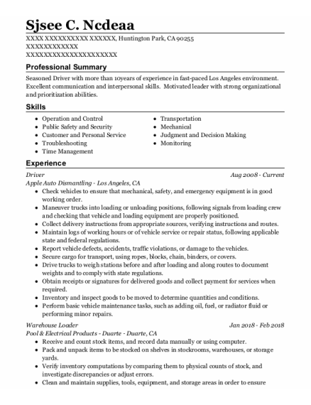 Driver resume example California