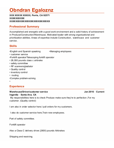 Warehouse resume example California