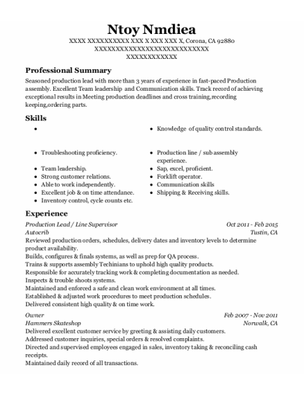 Production Lead resume sample California
