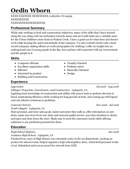 Apprentice resume sample California