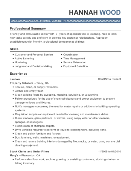 Janitors resume template California