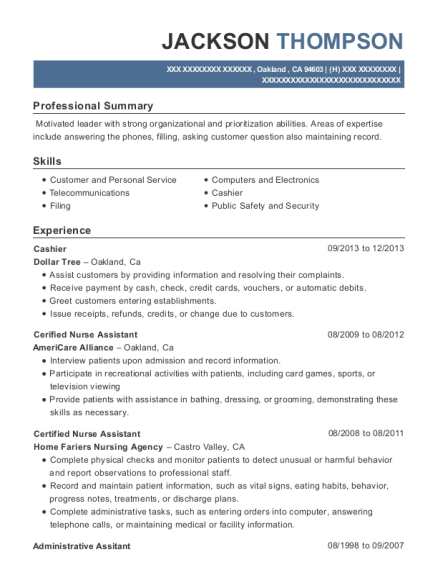 Cashier resume example California