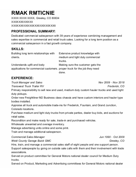 Commercial Sales Manager resume sample Colorado