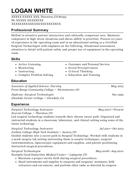 Everest College Surgical Technology Instructor Resume Sample