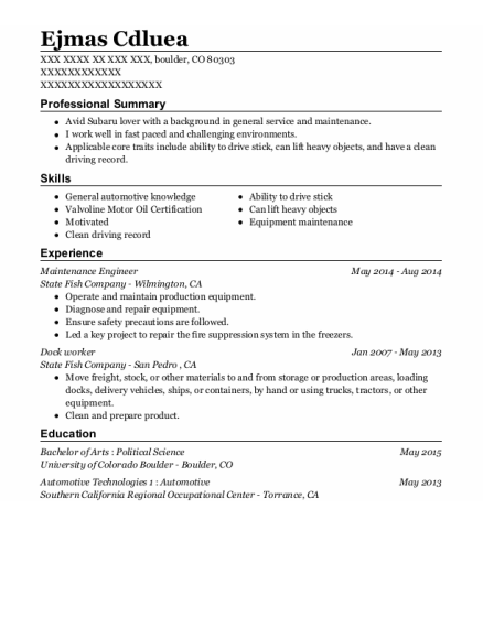 Maintenance Engineer resume example Colorado