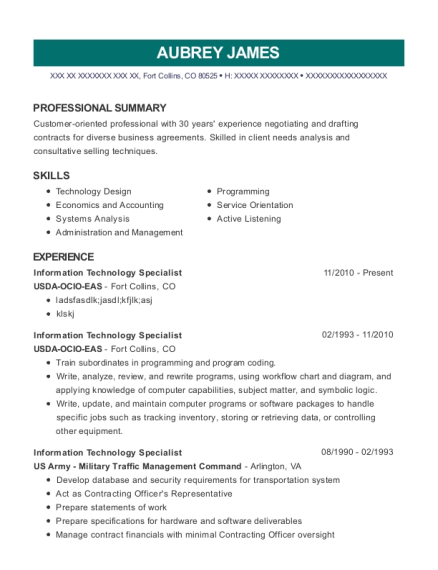 Information Technology Specialist resume sample Colorado