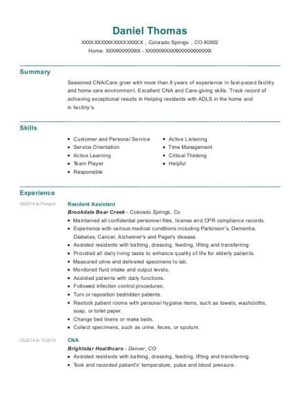 Resident Assistant resume format Colorado
