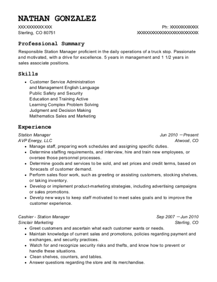 Station Manager resume example Colorado