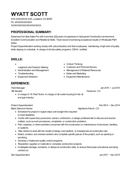 Field Manager resume example Colorado