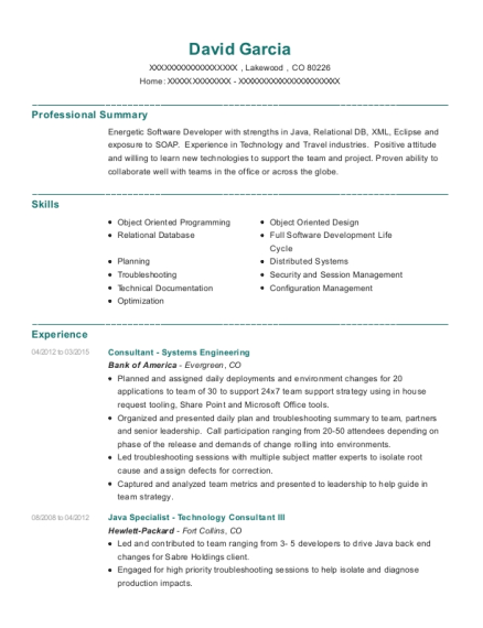 Consultant Systems Engineering resume format Colorado