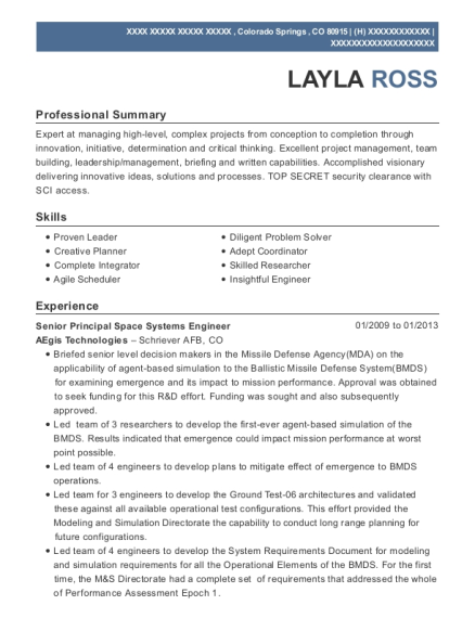 Senior Principal Space Systems Engineer resume example Colorado