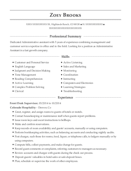 Front Desk Supervisor resume format Colorado