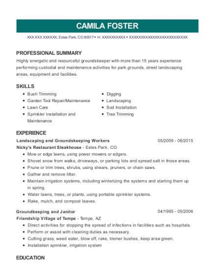 Landscaping and Groundskeeping Workers resume template Colorado