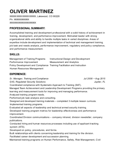 Sr Manager resume example Colorado