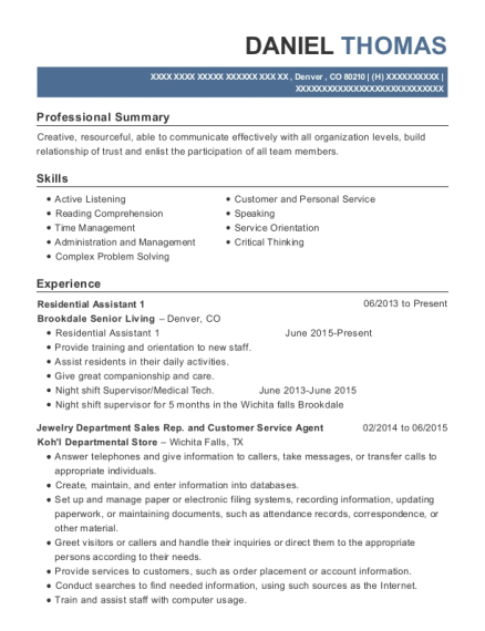 Residential Assistant 1 resume example Colorado