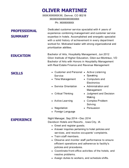 Night Manager resume sample Colorado