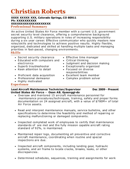 Lead Aircraft Maintenance Technician resume example Colorado