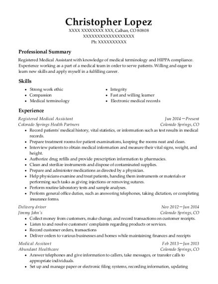 Registered Medical Assistant resume template Colorado