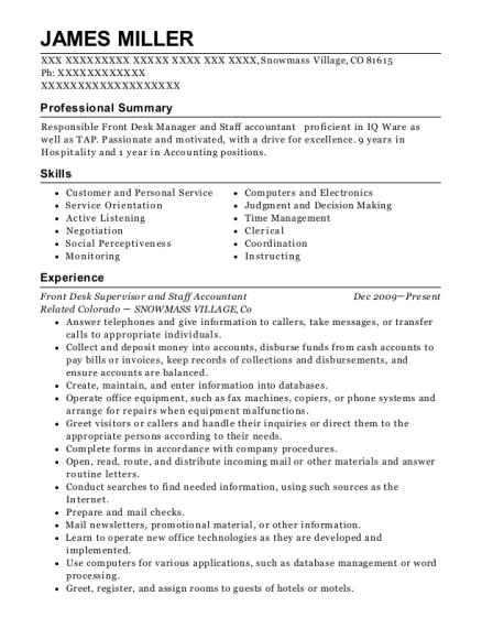 Front Desk Supervisor and Staff Accountant resume template Colorado