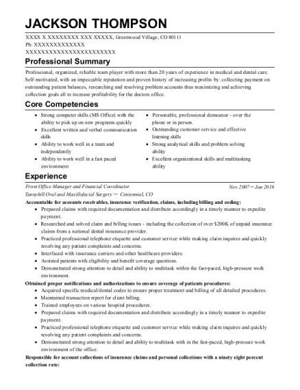 Front Office Manager and Financial Coordinator resume sample Colorado