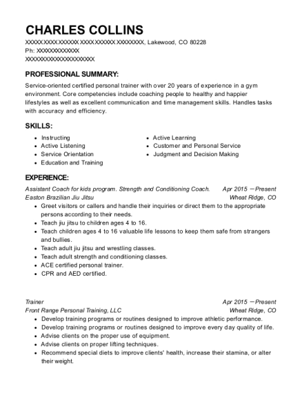Assistant Coach for kids program Strength and Conditioning Coach resume example Colorado