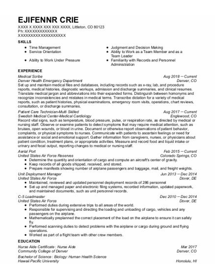 Medical Scribe resume example Colorado