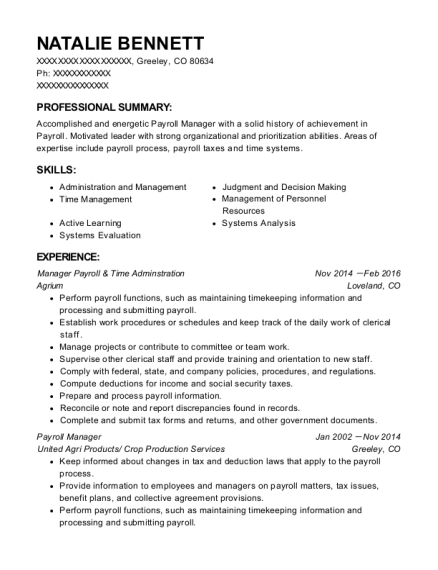 Manager Payroll & Time Adminstration resume sample Colorado